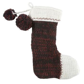 Hand Knit Christmas Stocking with Pom-Poms