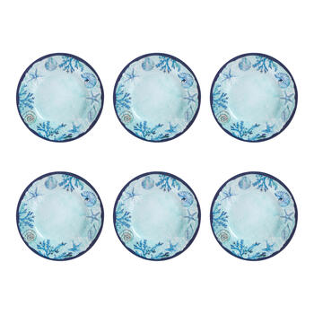 "8.5"" Blue Starfish and Shells Melamine Dinner Plates, Set of 6 view 1"