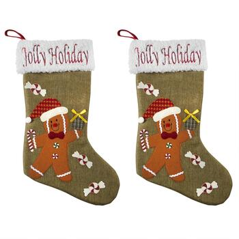 """Jolly Holiday"" Gingerbread Stockings with Sherpa Cuff, Set of 2"
