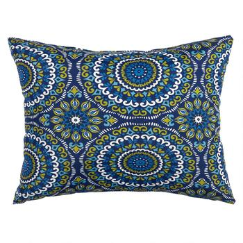 Blue Medallion Indoor/Outdoor Oblong Throw Pillow