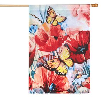 Red Flowers and Yellow Butterflies Yard Flag