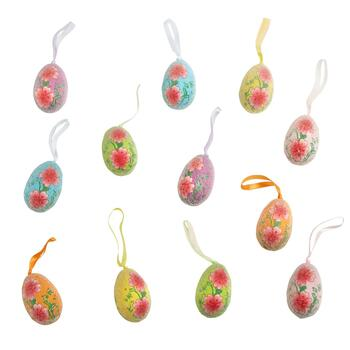Flower Multicolor Hanging Eggs, 12-Pack