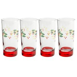 Holly Berry Cooler Glasses, Set of 4