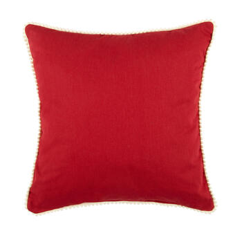 Red Plush Heart Scroll Square Throw Pillow view 2