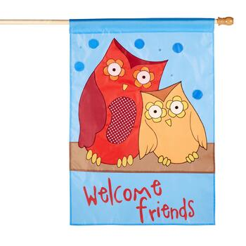 "28""x40"" ""Welcome Friends"" Owl Couple Yard Flag"