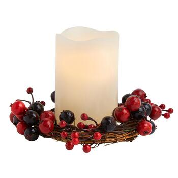 Cranberry Wreath LED Pillar Candle with Timer