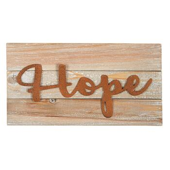 "7""x13"" ""Hope"" Wood Typography Sign"