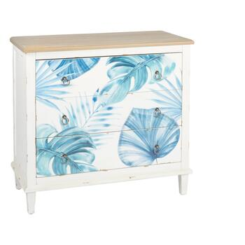Coastal Palm Leaves 3-Drawer Storage Cabinet