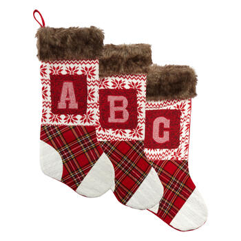 Patchwork Knit Monogram Christmas Stocking view 1