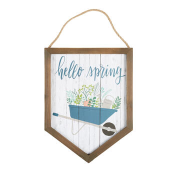 "16"" ""Hello Spring"" Wood Framed Wall Hanger view 1"