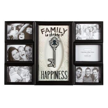 """Family is the Key to Happiness"" 6-Opening 3D Glass Photo Frame Wall Collage"