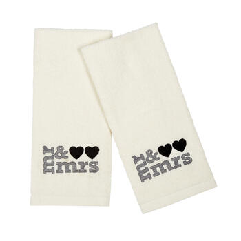 """Mr. & Mrs."" Embroidered Cotton Hand Towels, Set of 2 view 1"