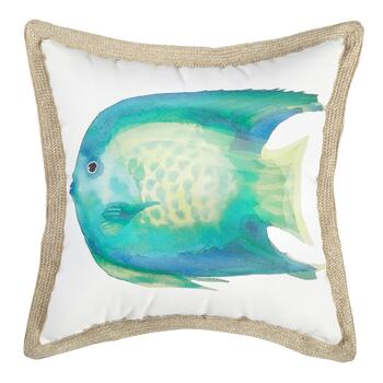 Fish Watercolor Indoor/Outdoor Square Throw Pillow