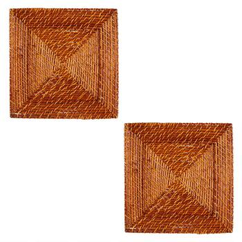 Square Woven Rattan Charger Plates, Set of 2