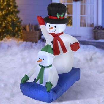 "47"" Airblown® Inflatable Lawn Snowmen on Sled view 1"
