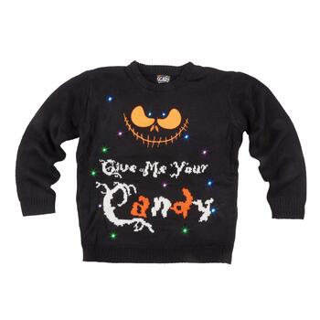 """Give Me Your Candy"" LED Ugly Halloween Sweater"