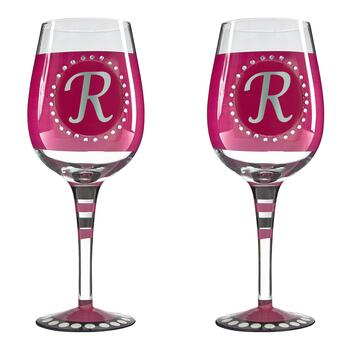 "Bedazzled Monogram ""R"" Wine Glasses, Set of 2"