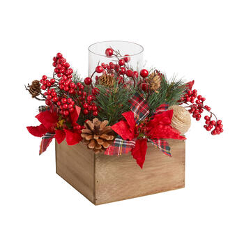 "10.5"" Red Berries and Poinsettias Candle Holder Centerpiece view 1"
