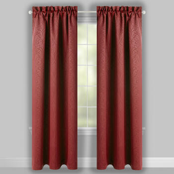 Red Scroll Blackout Window Curtains, Set of 2 view 2
