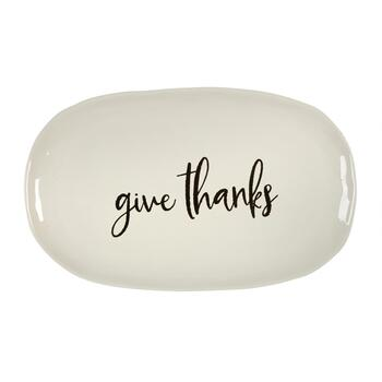 "The Grainhouse™ 9.75""x16"" ""Give Thanks"" Over Ceramic Tidbit Plates, Set of 4 view 2"
