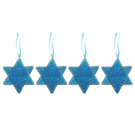 Blue Star of David Beaded Hanging Ornaments, Set of 4
