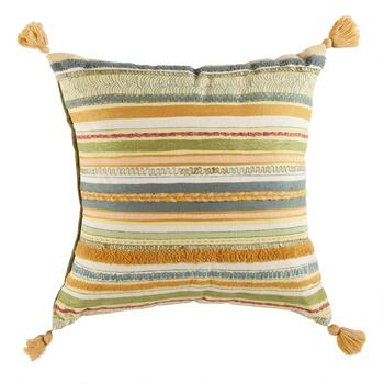 Multi-Stripe Embroidered Square Throw Pillow with Tassels
