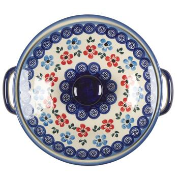 Polish Pottery Multicolor Flowers Round Covered Serving Dish view 2