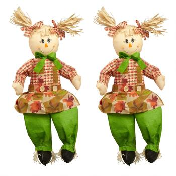 "23"" Green Pants Girl Scarecrows Decor, Set of 2"