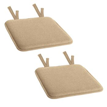 Solid Memory Foam Twill Square Chair Pads, Set of 2