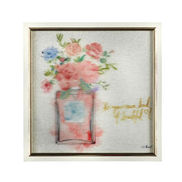 "13"" Pink Flower Vase Framed Square Wall Decor view 1"