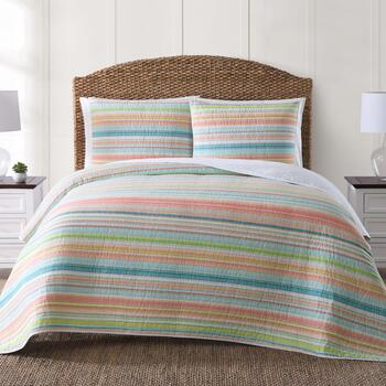 coastal living seascapes pastel stripe quilt set christmas tree