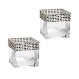 "4"" Rhinestone-Studded Square Glass Vases, Set of 2"
