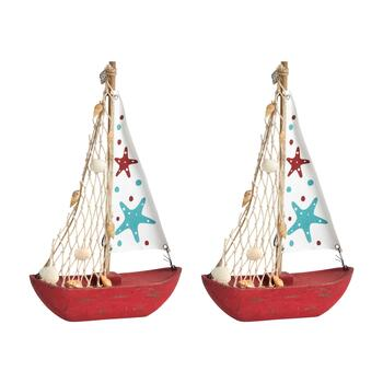 "11.25"" Red/Blue Starfish and Shell Sailboat Decor view 1"