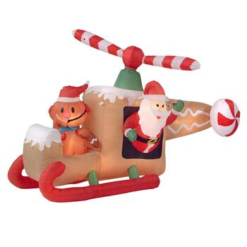 8' Airblown&reg Inflatable Lighted Gingerbread Helicopter
