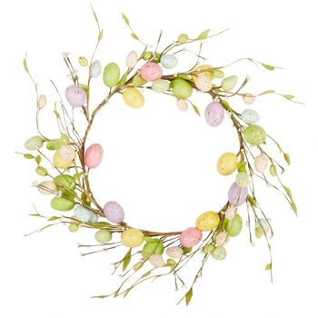 "15"" Purple/Yellow Speckled Eggs Wreath"
