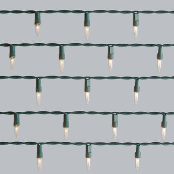 13' Mini Clear String Lights on Green Wires, Set of 4