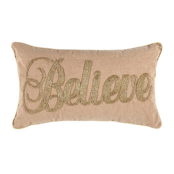 """Believe"" Beaded Oblong Throw Pillow view 1"