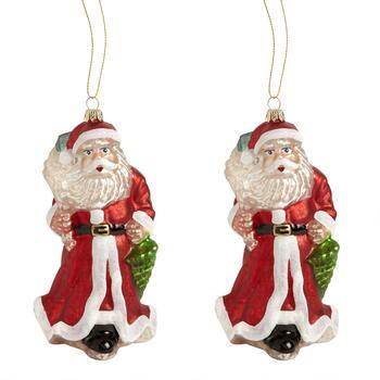 Red Coat Glass Santa Ornament Set Of 2