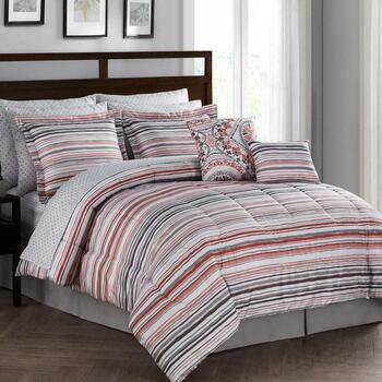 Red/Gray Medallion Reversible Comforter Set, 12-Piece view 2