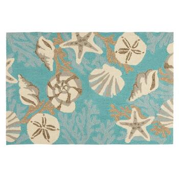 Teal Shells Hooked All-Weather Rug