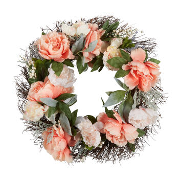 "22"" Peony Blossoms & Berries Artificial Wreath view 1"