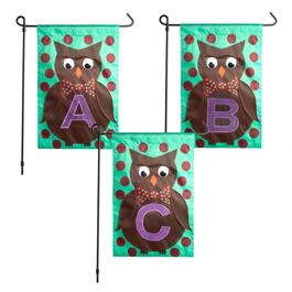 Harvest Owl Monogram Mini Yard Flag