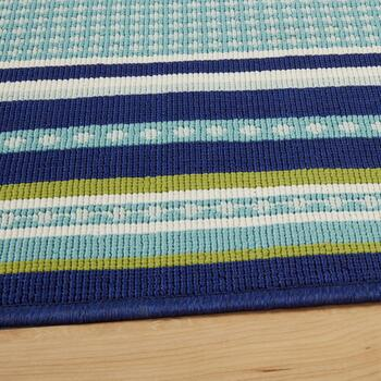 Dark Blue/Green Border All-Weather Area Rug view 2