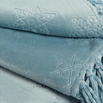 Snowflake Embossed Throw Blanket with Fringe view 2