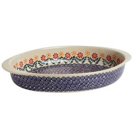 Polish Pottery Cheery Flowers Jumbo Oval Ceramic Baker