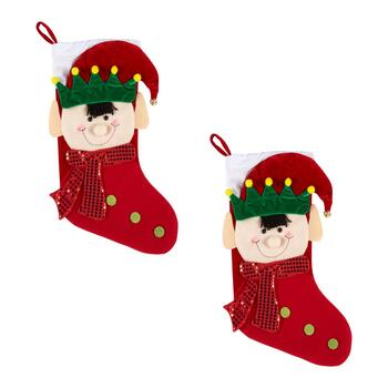 Sequined Scarf Elf Christmas Stockings, Set of 2