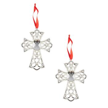 Famous Maker Silver Crystal Cross Ornaments, Set of 2