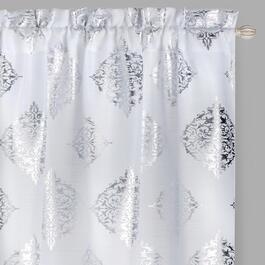 84 White Metallic Medallion Window Curtains Set Of 2
