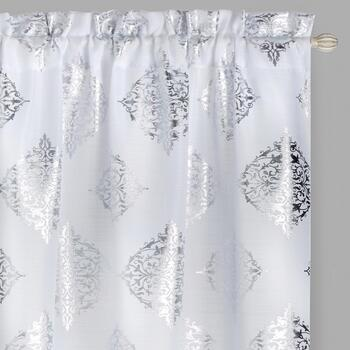 "84"" White Metallic Medallion Window Curtains, Set of 2"