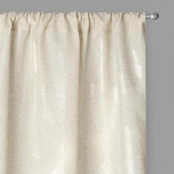 Solid Tan Metallic Floral Print Window Curtains, Set of 2